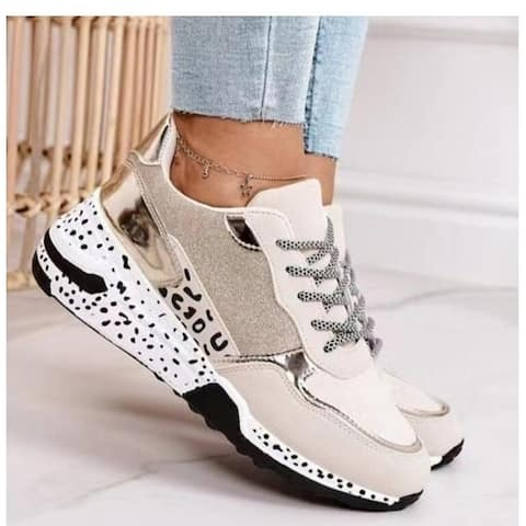 Leopard Print Lace Up Casual Sneakers