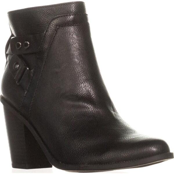 B35 Dove Block Heel Casual Ankle Booties, Black
