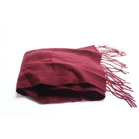 Club Room Men's Burgundy Red Solid Scarf Cashmere Fringe Trim Accessory