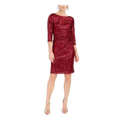 JESSICA HOWARD Red Long Sleeve Knee Length Sheath Dress Size 12