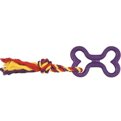 Boss WB11440M-PG Chomper Tug Bone With Rope Pet Toys, Assorted Color