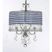 3-light Chandelier With Blue Crystal Shade