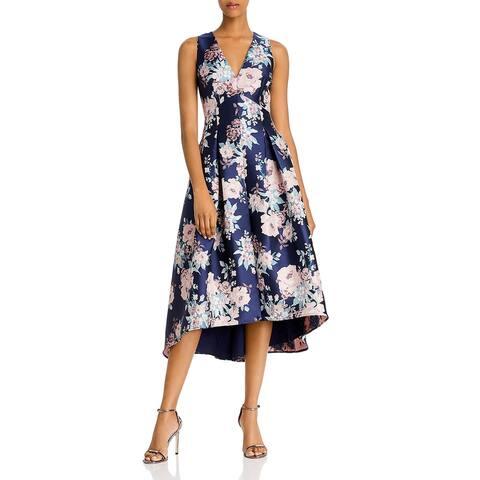 Eliza J Womens Evening Dress Floral Hi-Low - Navy