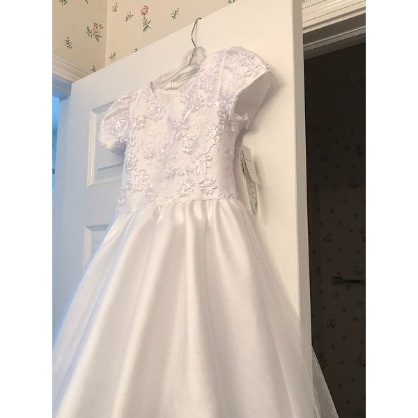 60ea2c1df3d Shop White Ribbon Embroidered Tulle First Communion Dress Girl 7-14 - Free  Shipping Today - Overstock - 18173150