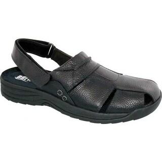 Drew Men's Barcelona Closed Toe Sandal Black Pebbled Leather