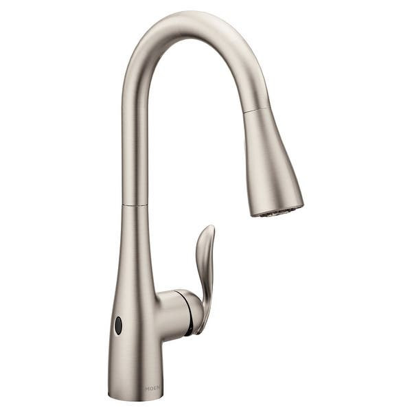 Moen 7594ew Arbor Pull Down High Arc Kitchen Faucet With Motionsense Overstock 20896224 Spot Resist Stainless