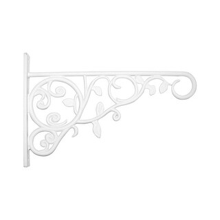 "Panacea 85008 Plant Bracket With Leaves, 10"" H, White"