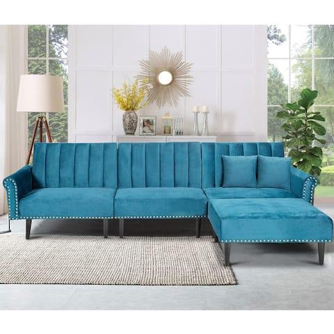 TiramisuBest Rivet Upholstered Adjustable L-shaped Sectional Sofa