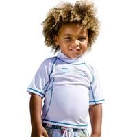 Sun Emporium Baby Boys White Teal Multi Panel Short Sleeve Rash Guard