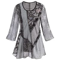 Adore Women's Patchwork Tunic Top -Mixed Lace & Floral Patterns 3/4 Bell Sleeves