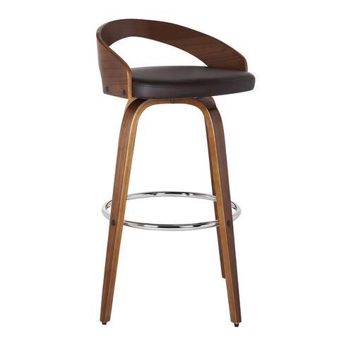 Carson Carrington Solavagen Walnut Upholstered Wood Bar Stool