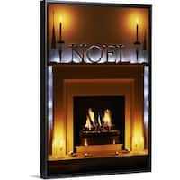 afaa19556e949 Floating Frame Premium Canvas with Black Frame entitled Christmas fireplace  - Multi-color