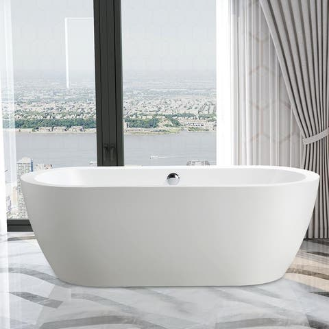 """Vanity Art 67.7"""" Freestanding Acrylic Bathtub Modern Stand Alone Soaking Tub with Chrome Finish Easy to Install & Pop-up Drain"""