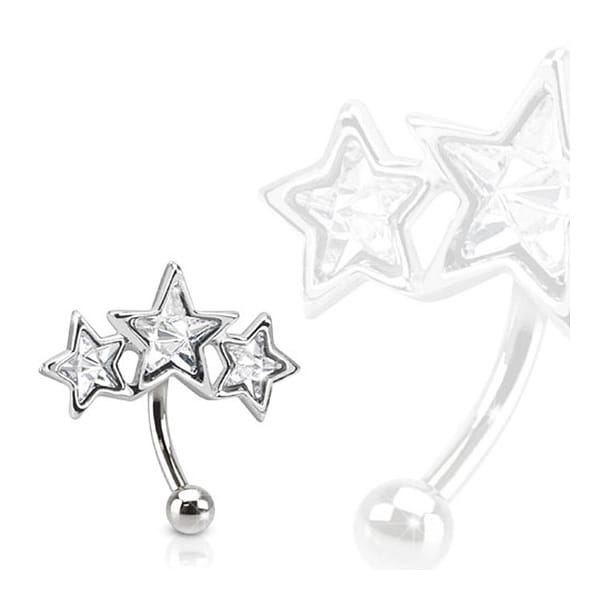 Triple Star 316L Surgical Steel Eyebrow Curve with Paved Star Shaped CZs (Sold Ind.)