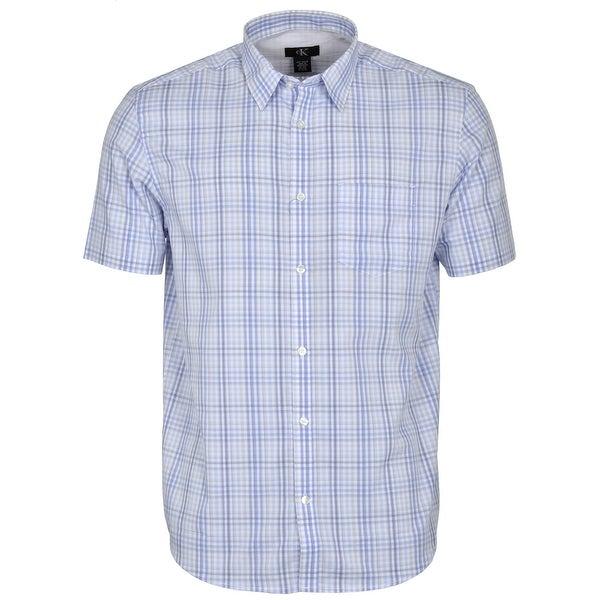 Calvin Klein Mini Check Short Sleeve Shirt Sky Blue Medium M