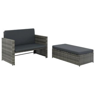 vidaXL 2 Piece Garden Lounge Set with Cushions Poly Rattan Gray