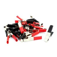Unique Bargains 20 Pcs 15A Red Black Insulated Test Alligator Clip Clamp w Heat Shrinkable Tubee