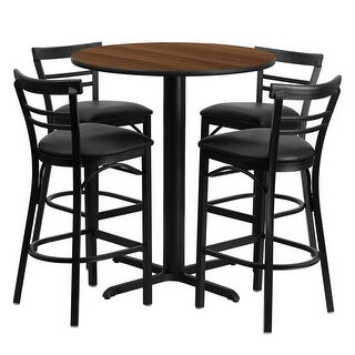 Offex 24'' Round Walnut Laminate Table Set with Ladder Back Metal Bar Stool and Black Vinyl Seat