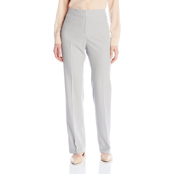a3944f8777 Shop Kasper NEW White Blue Women Size 8 Straight-Fit Striped ...