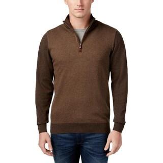 Tricots St. Raphael Mens Sweater Ribbed Trim 1/4 Zip