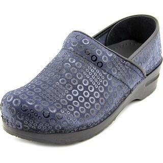 Sanita Original Women Round Toe Leather Blue Clogs