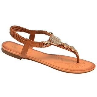 Anna Adult Tan Bejeweled Elasticated Strap Flip Flop Sandals