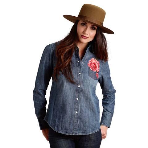 Stetson Western Shirt Womens L/S Woven Denim Blue