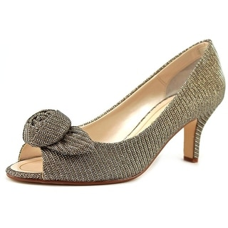 Caparros Willamena Women Peep-Toe Canvas Bronze Heels