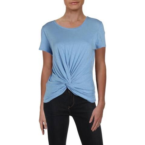 Aqua Womens T-Shirt Knot Front Short Sleeves