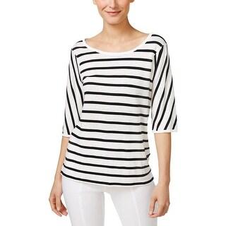 Calvin Klein Womens Casual Top Linen Striped