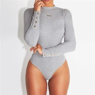 Grey Solid Long Sleeve Knitted Sexy Bodycon Bodysuit Women Spring Ribbed Button Turtleneck Bodysuit