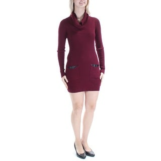 Womens Burgundy Long Sleeve Mini Casual Dress Size: S