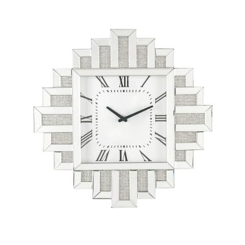 Irregular Mirror Frame Wall Clock with Crushed Faux Diamond Inlay, Silver