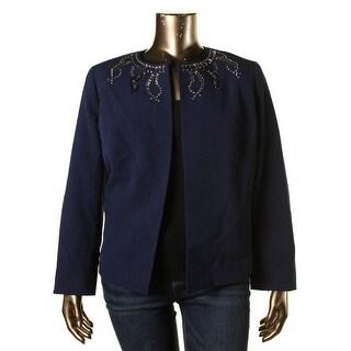 Kasper Womens Plus Odyssey Crepe Embellished Open-Front Blazer - 18W