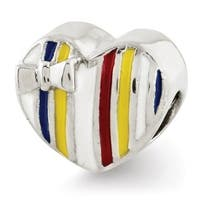 Sterling Silver Reflections Kids Enameled Heart Bead (4mm Diameter Hole)