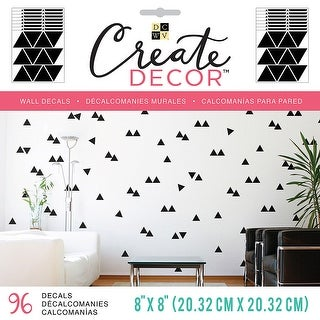 """Dcwv Create Decor Removable Wall Decals 8""""X8""""-Black Triangles, 8 Sheets"""