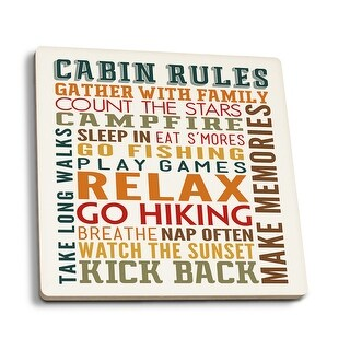 Cabin Rules Typography - Lantern Press Artwork (Set of 4 Ceramic Coasters)