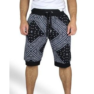 Bandana Print Jogger Shorts (Option: L)