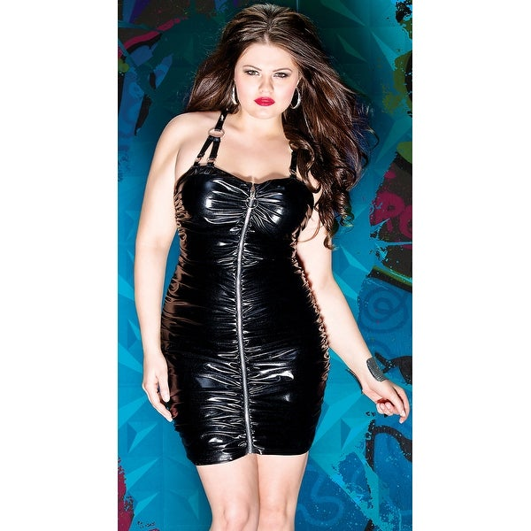 Shop Plus Size Gathered Wet Look Dress Black 1x Free Shipping