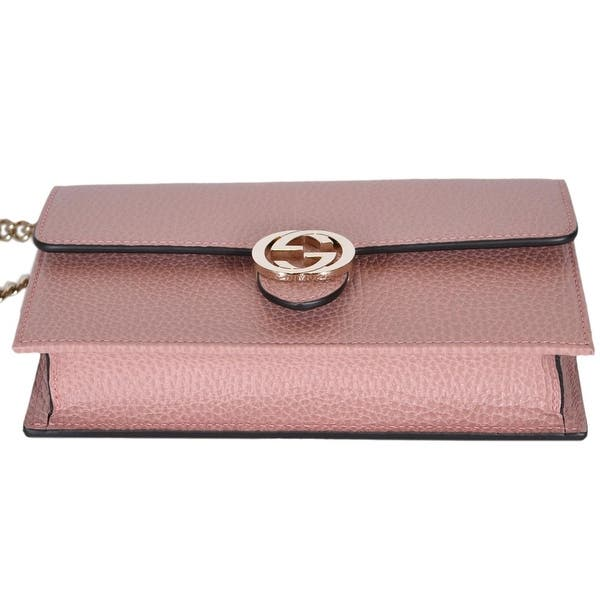 7a72d310a15 ... Gucci 510314 Pink Leather Interlocking GG Crossbody Wallet Bag Purse  Clutch - Soft Pink - 7.5 ...