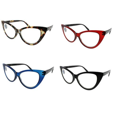 Cateye Blue Light Blocking Reading Glasses 4 piece pack