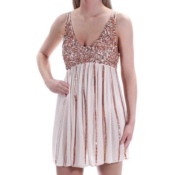 12b391f272f Shop Womens Beige Spaghetti Strap Mini Shift Casual Dress Size  128 - Free  Shipping On Orders Over  45 - Overstock.com - 24074155