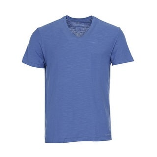 Calvin Klein Jeans Cotton Slub V-Neck T-Shirt Hydro Blue Tee Medium M