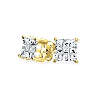 Bling Jewelry Invisible Cut Checkerboard Square CZ Gold Plated 925 Silver Studs 7mm