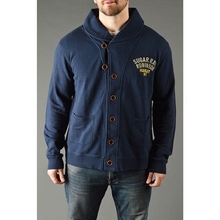 Roots of Fight Sugar Ray Robinson Throwback Button-Front Cardigan - Dark Navy