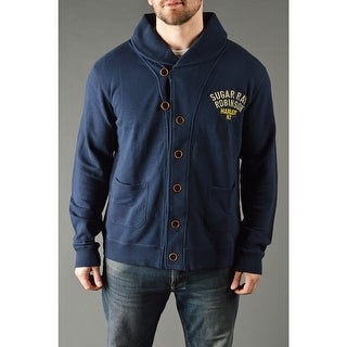 Roots of Fight Sugar Ray Robinson Throwback Button-Front Cardigan - Dark Navy (Option: 3xl)