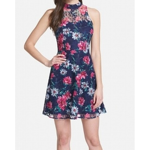 Kensie Blue Pink Women's Size 8 Floral Lace Halter Sheath Dress