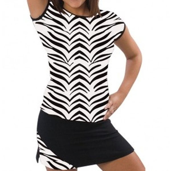 Shop Pizzazz Girls Size 2T-16 Black White Zebra Cap Sleeve Tee Cheer Dance  - Free Shipping On Orders Over  45 - Overstock - 18120817 1e79502a725d