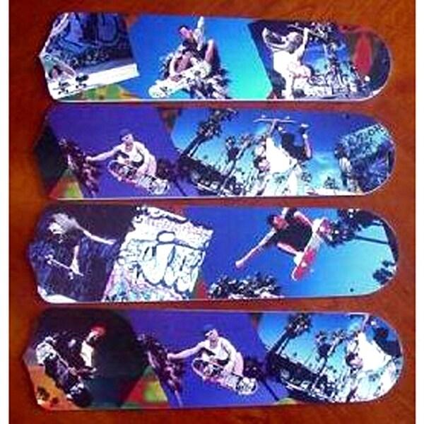 Blue Cool Skateboarding Custom Designer 42in Ceiling Fan Blades Set - Multi