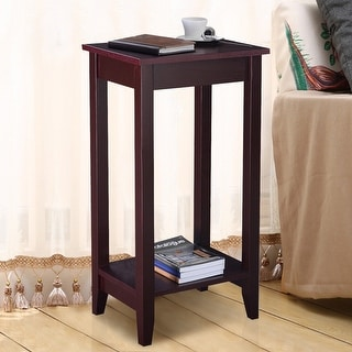 Costway Tall End Table Coffee Stand Night Side Nightstand Accent Furniture Brown (1)
